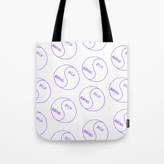Rich / Boring (White) Tote Bag