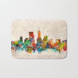 indianapolis city skyline watercolor 3 Bath Mat