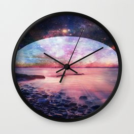 Mystic Lake : Fantasy Moon Landscape Wall Clock