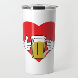 """A Beer Tee For Alcoholic """"I Love Craft Beers!"""" T-shirt Design Alcohol Ok Thumbs Up Wated Partying Travel Mug"""