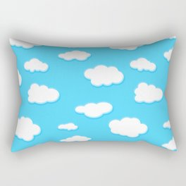sky of blue and fluffly white clouds Rectangular Pillow