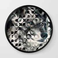 into the wild Wall Clocks featuring wild by Vin Zzep