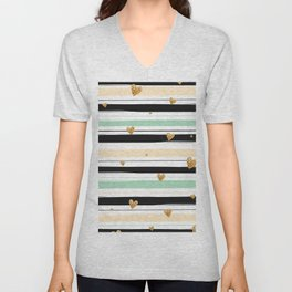 Handmade colorful stripes with gold hearts pattern Unisex V-Neck