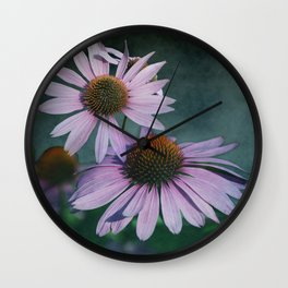 Beautiful summer with pink Echinacea / Daisy flowers Wall Clock