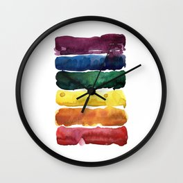 awesome rainbow watercolor Wall Clock