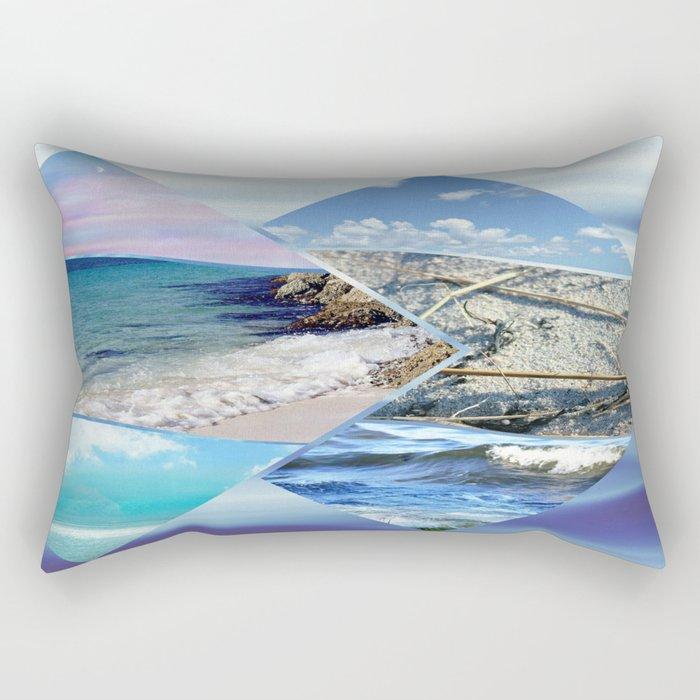 Sea, Sand and Sky Collage Rectangular Pillow