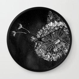 Dandelions, black & white Wall Clock