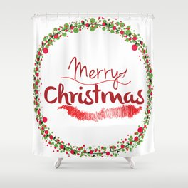 Holiday christmas decoration baubles || Shower Curtain
