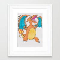 charizard Framed Art Prints featuring Charizard  by pokelayfe
