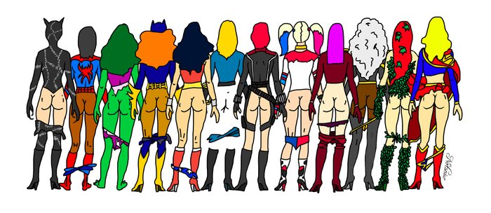 Superhero Butts - Girls - Row Version - Superheroine Coffee Mug