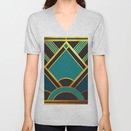 Art Deco New Tomorrow In Turquoise Unisex V-Neck