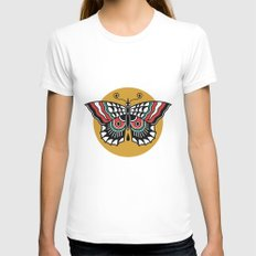 Butterfly Classic Tattoo Flash LARGE Womens Fitted Tee White