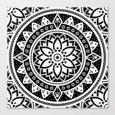 Black & White Patterned Flower Mandala Canvas Print
