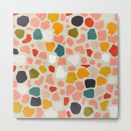 terrazzo mosaic shapes modern Metal Print