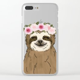 Floral Crown Sloth Clear iPhone Case
