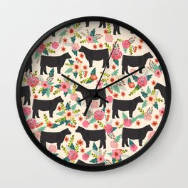 Show Steer cattle breed floral animal cow pattern cows florals farm gifts Wall Clock