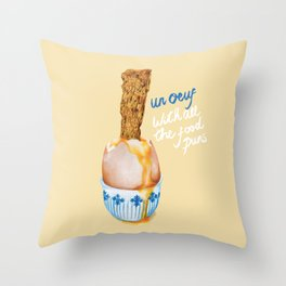 Un Oeuf With All The Food Puns Throw Pillow