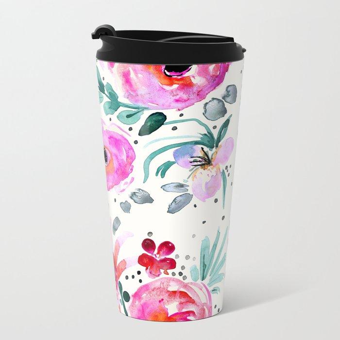 Colby Floral Metal Travel Mug
