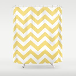 Mellow yellow - yellow color - Zigzag Chevron Pattern Shower Curtain