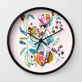 Flowers in the Wind Wall Clock