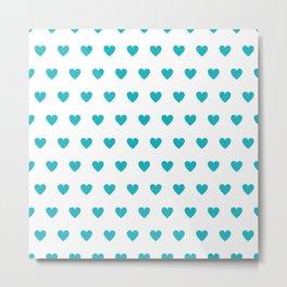 Polka dot hearts - turquoise Metal Print