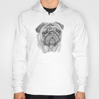 pug Hoodies featuring Pug by Lene Daugaard