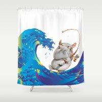 hokusai Shower Curtains featuring Hokusai Rainbow & Hippopotamus Fishing  by FACTORIE