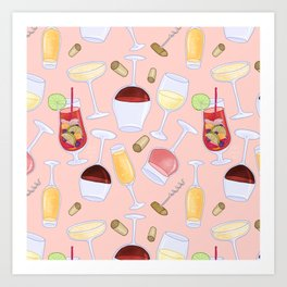 Happy Wine Pattern Art Print