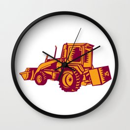 Mechanical Digger Excavator Woodcut Wall Clock