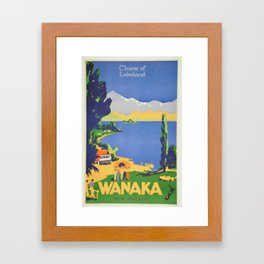 Vintage Wanaka New Zealand Lakeland Travel Framed Art Print