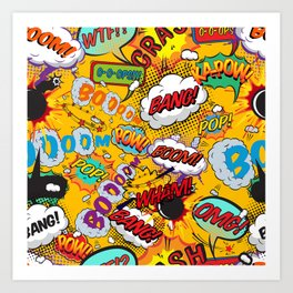 Comic Book Pop Art Shout Outs Modern Fun Art Print