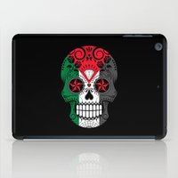 palestine iPad Cases featuring Sugar Skull with Roses and Flag of Palestine by Jeff Bartels