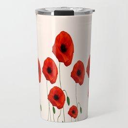 GRAPHIC RED POPPY FLOWERS GARDEN ON WHITE COLOR Travel Mug