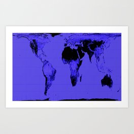 World Map: Gall Peters Indigo Purple Art Print