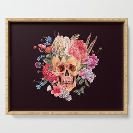 Floral Feather Crown Human Skull Bone Beautiful Flowers Black Background Serving Tray