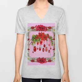 PEPPERMINT PINK RED AMARYLLIS FLOWERS & HOLIDAY ORNAMENTS Unisex V-Neck