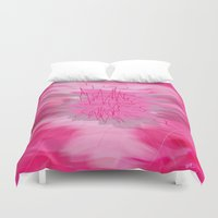 poem Duvet Covers featuring pink poem  by sladja