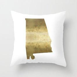 alabama gold foil state map Throw Pillow