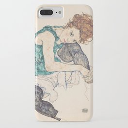 SEATED WOMAN WITH BENT KNEE - EGON SCHIELE iPhone Case