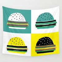 hamburger Wall Tapestries featuring fastfood hamburger by lightnass