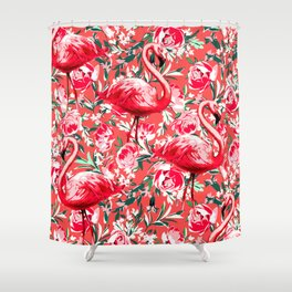 Flamingos and Flowers Shower Curtain