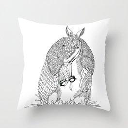 hipster 'dillo Throw Pillow