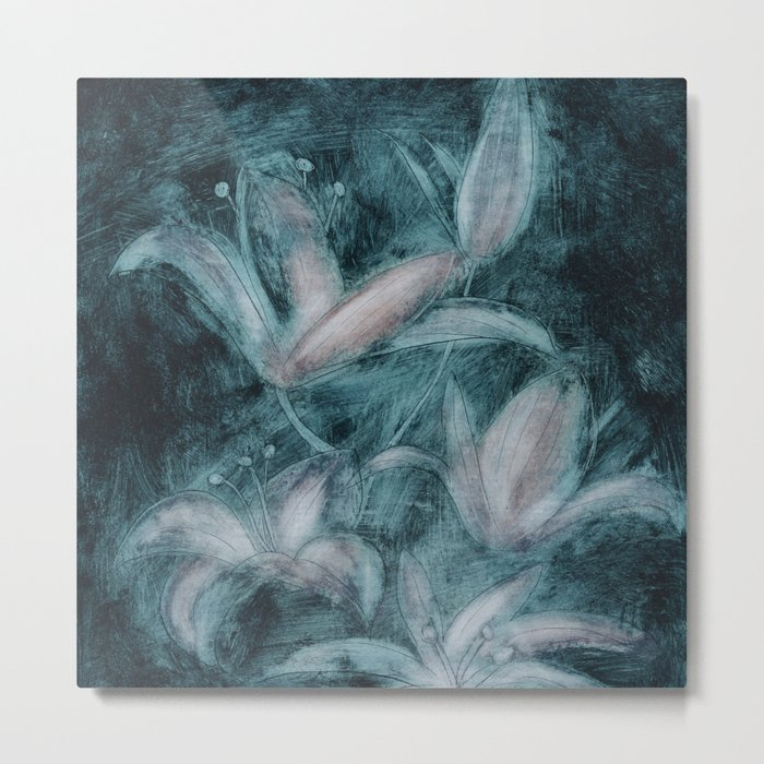 Lilies on a dark blue background Metal Print