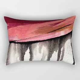 Entangled [4]: a vibrant, colorful abstract mixed-media piece in reds, pinks, black and white Rectangular Pillow