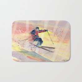 Colorful Skiing Art Bath Mat