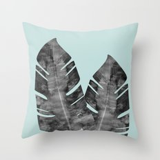 Two tropical leaves Throw Pillow