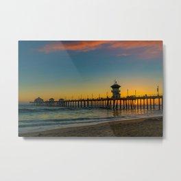 September Skies Over Huntington Beach Pier Metal Print