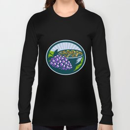 Grapes Raisins Bowl Oval Woodcut Long Sleeve T-shirt