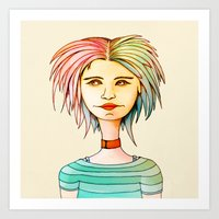 rasta Art Prints featuring Rasta Girl by IOSQ