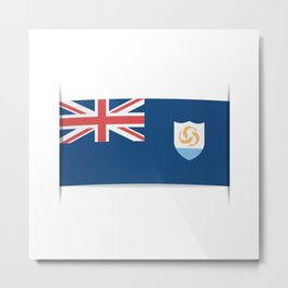 Flag of Anguilla. The slit in the paper with shadows.  Metal Print